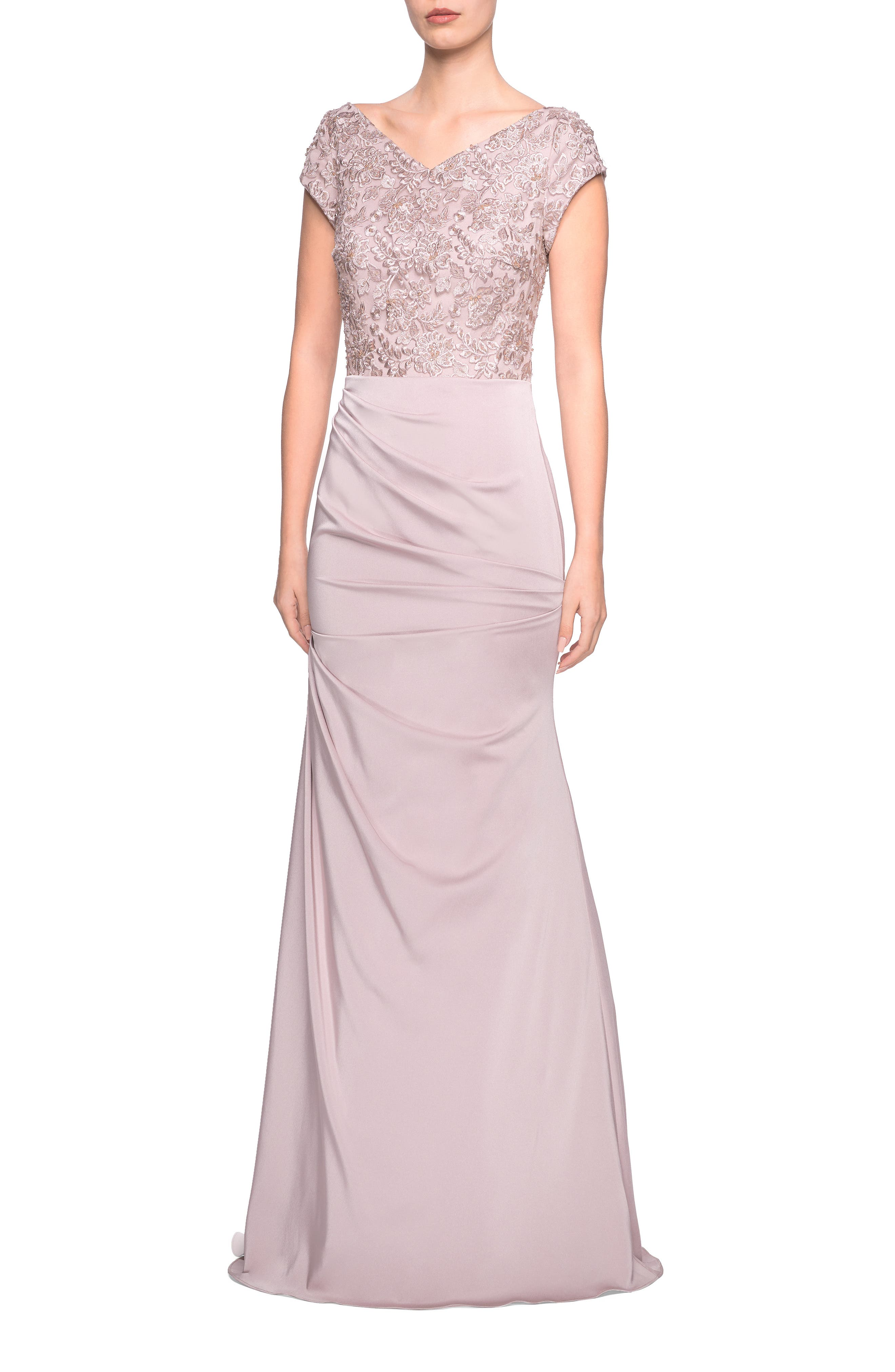 La Femme Embroidered Bodice Satin Evening Dress, 8 (similar to 18W-20W) - Beige