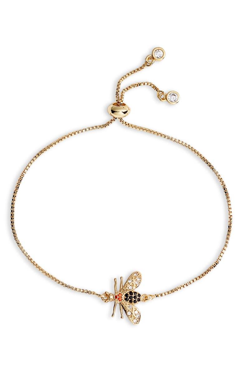 TEN79LA Bee Station Bracelet, Main, color, GOLD