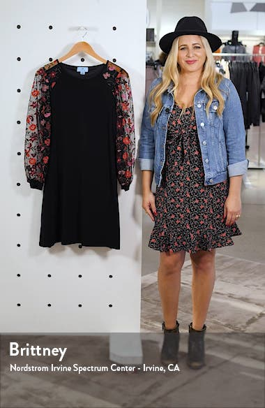 Embroidered Long Sleeve Shift Dress, sales video thumbnail