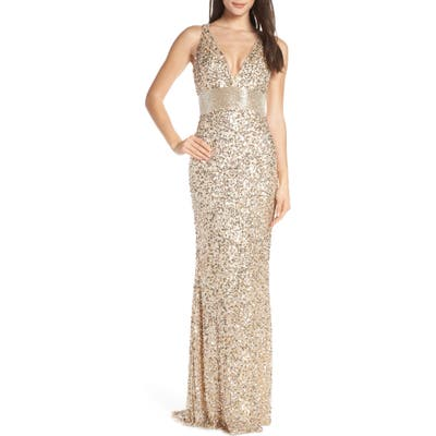 MAC Duggal Beaded Waist Evening Dress, 8 (similar to 16W) - Beige