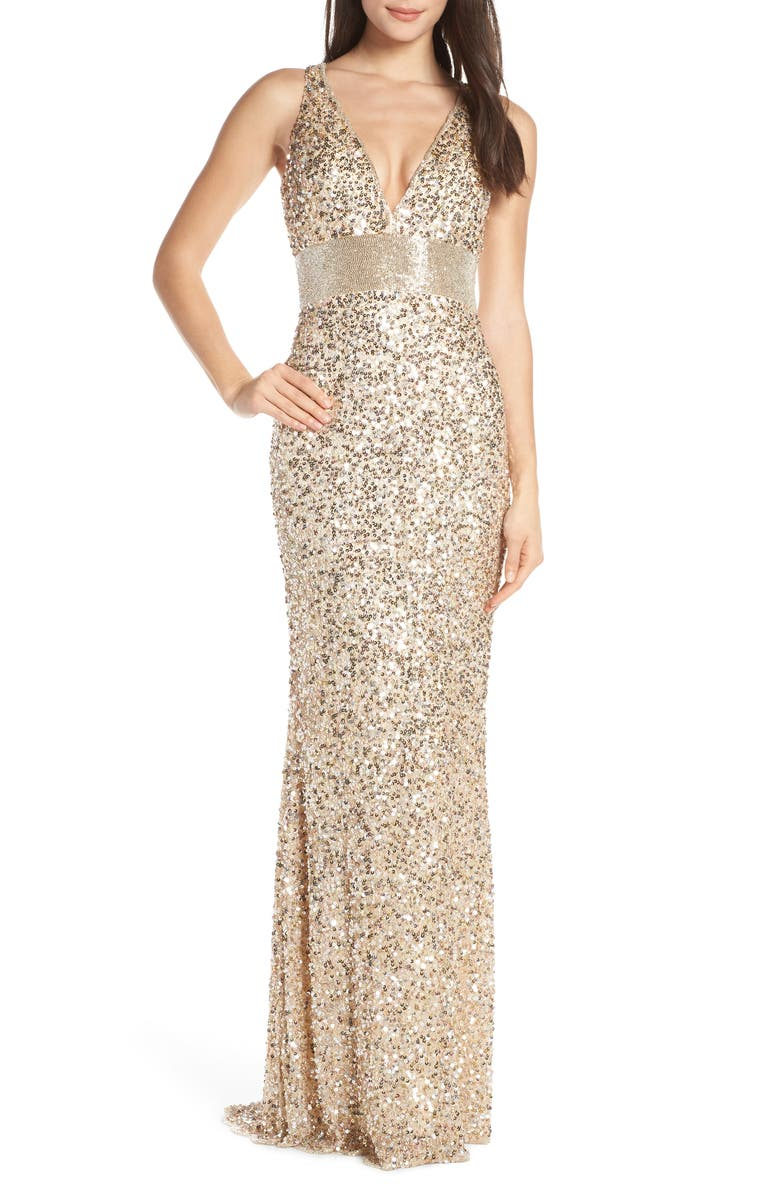 MAC DUGGAL Sequin Column Gown, Main, color, NUDE GOLD