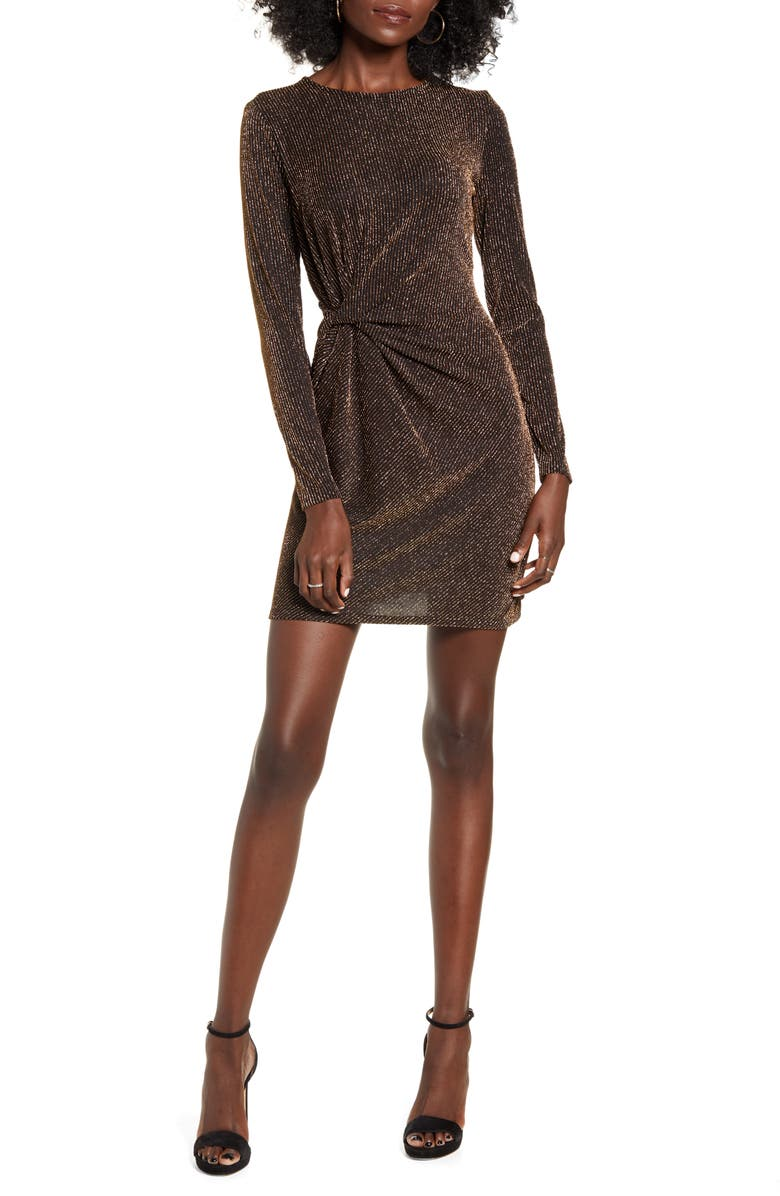 LEITH Waist Detail Long Sleeve Minidress, Main, color, 001