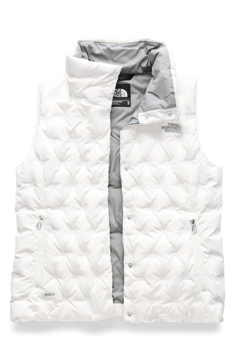 THE NORTH FACE Holladown Water Repellent 550-Fill-Power Down Crop Vest, Main, color, TNF WHITE