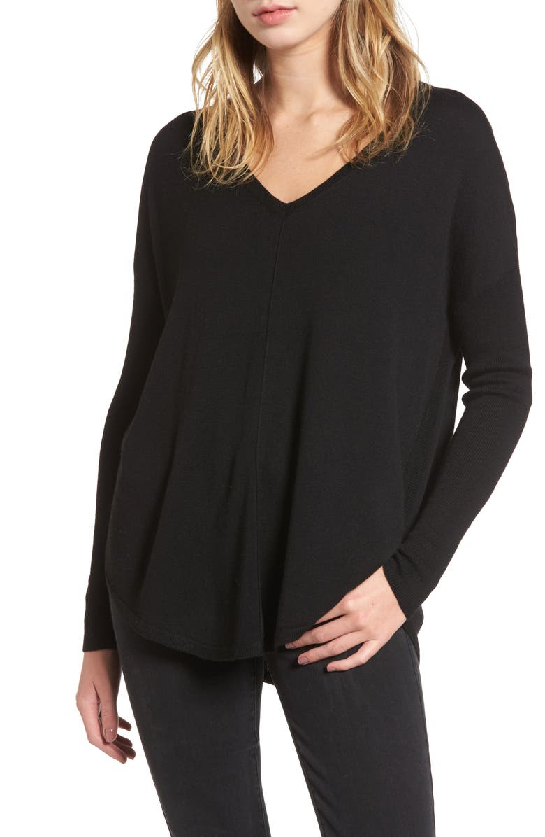 CHELSEA28 Everyday V-Neck Sweater, Main, color, BLACK