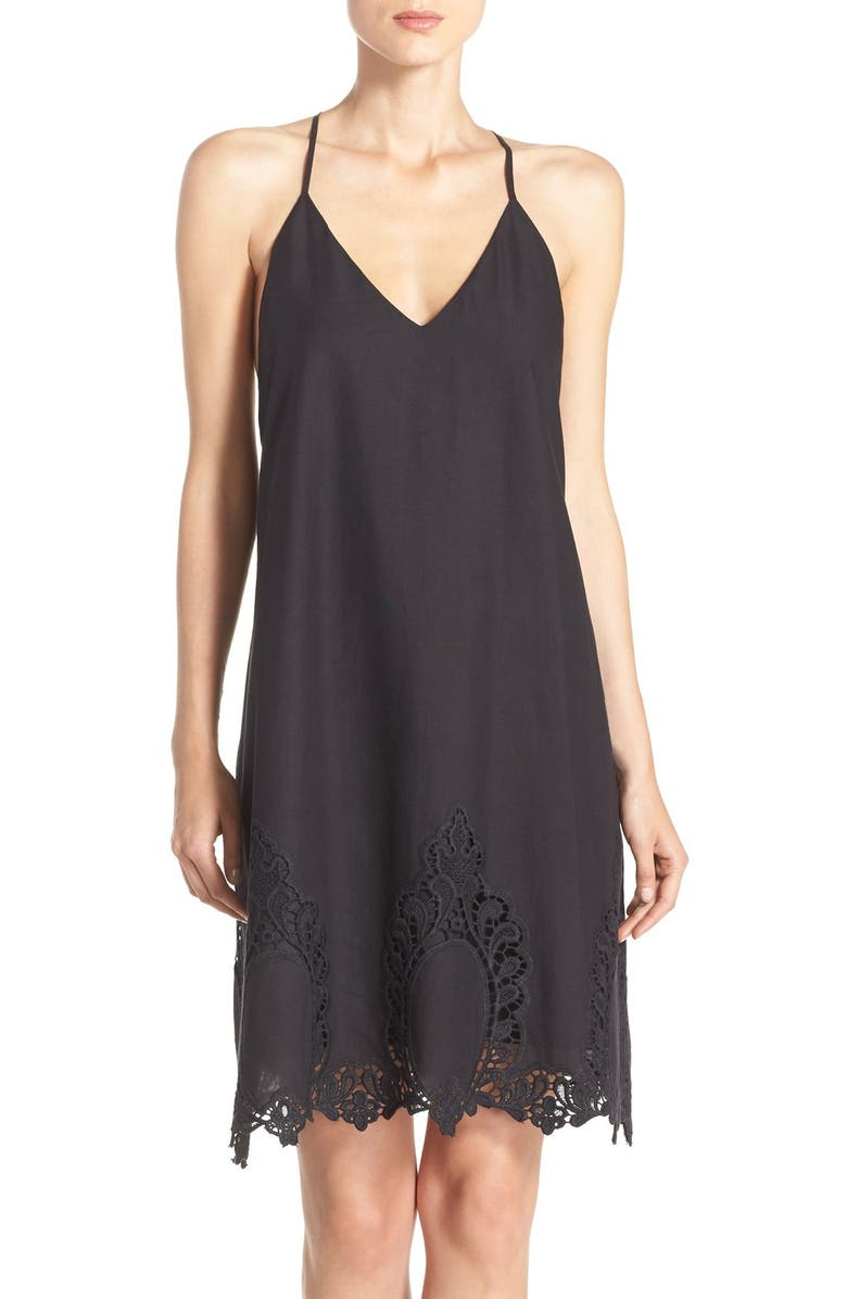 FELICITY & COCO Embroidered Hem Cotton Shift Dress, Main, color, 001