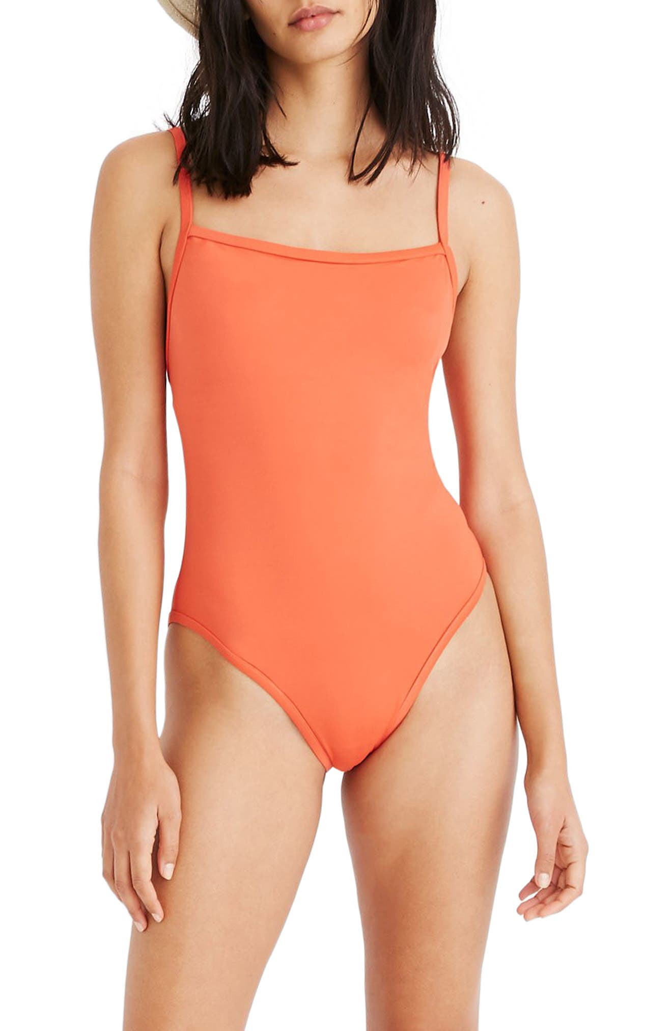 Plus Size Madewell Second Wave Straight One-Piece Swimsuit, Size - Orange