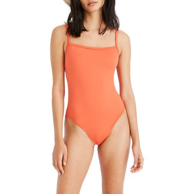 Madewell Second Wave Straight One-Piece Swimsuit, Orange