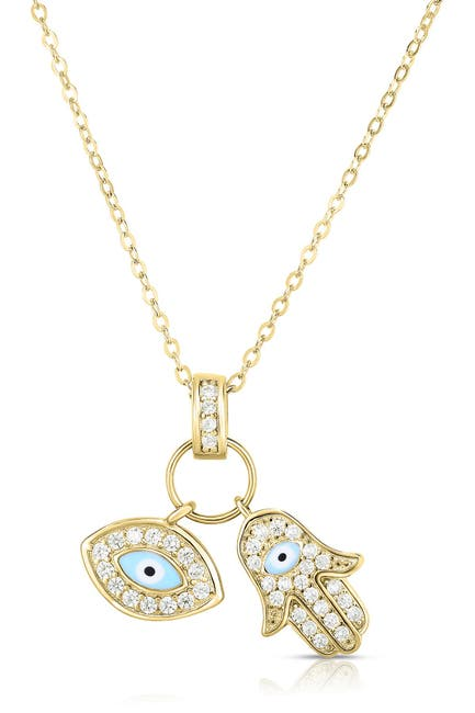 Image of Sphera Milano 14K Yellow Gold Plated Sterling Silver Charm Pendant Necklace