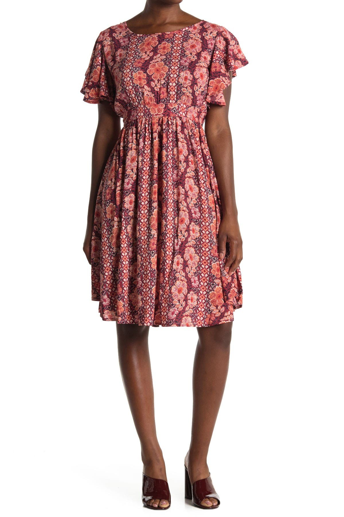 Image of Angie Floral Flutter Sleeve Cutout Back Dress