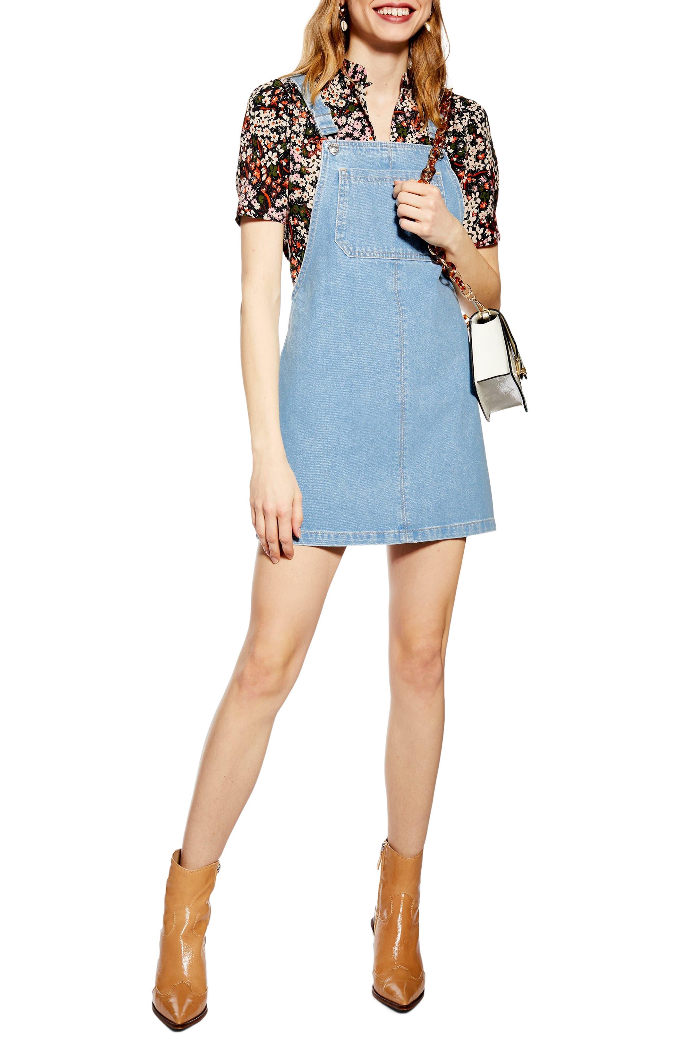 Topshop Denim Pinafore Bib Pocket Dress, US (fits like 14) - Blue
