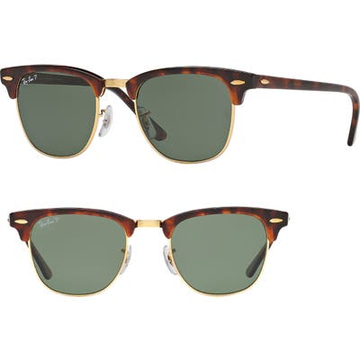 Ray-Ban Clubmaster 51Mm Polarized Sunglasses - Red Havana