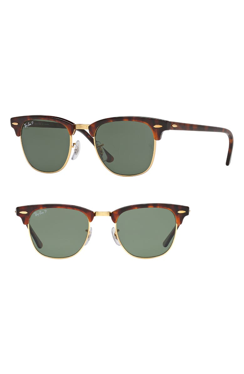 RAY-BAN Clubmaster 51mm Polarized Sunglasses, Main, color, RED HAVANA