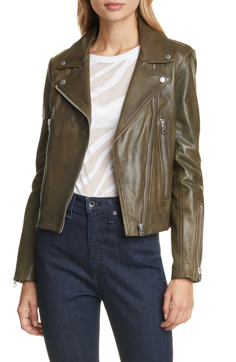 RAG & BONE Mack Lambskin Leather Jacket, Main, color, OLIVE