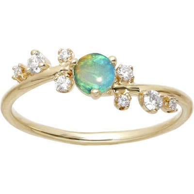 Wwake Botany Collection Crossover Opal & Diamond Ring