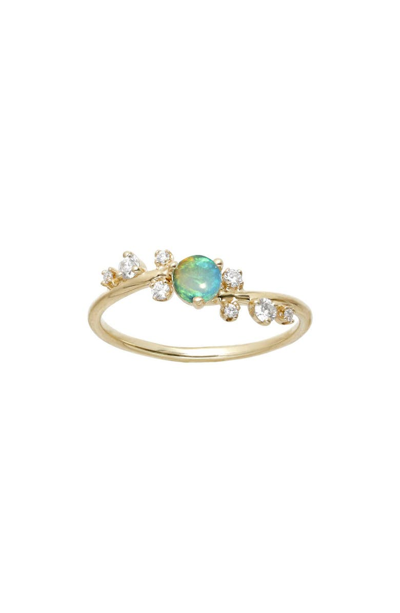 WWAKE Botany Collection Crossover Opal & Diamond Ring, Main, color, YELLOW GOLD/ OPAL/ DIAMOND