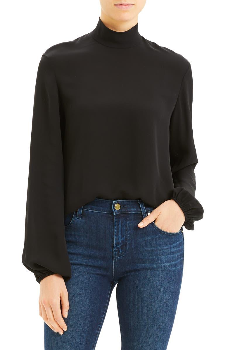 THEORY Mock Neck Silk Blouse, Main, color, BLACK