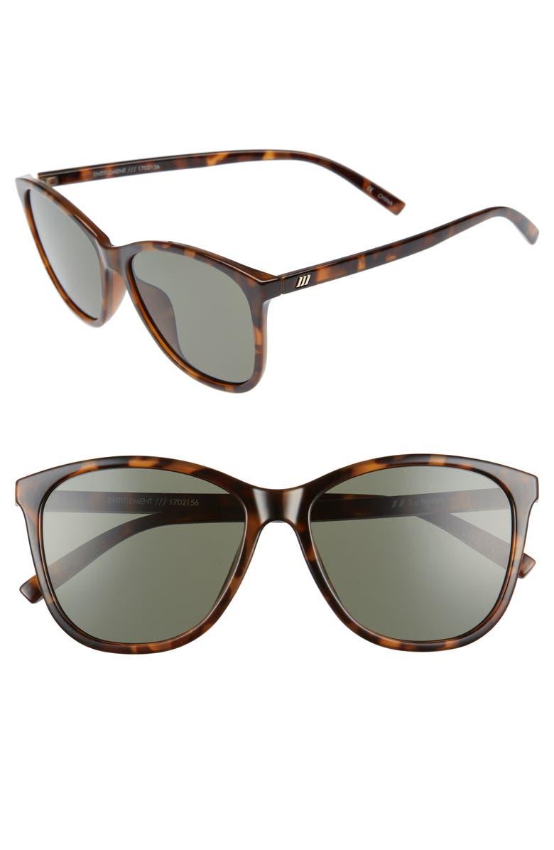 LE SPECS Entitlement 57mm Sunglasses, Main, color, MILKY TORT