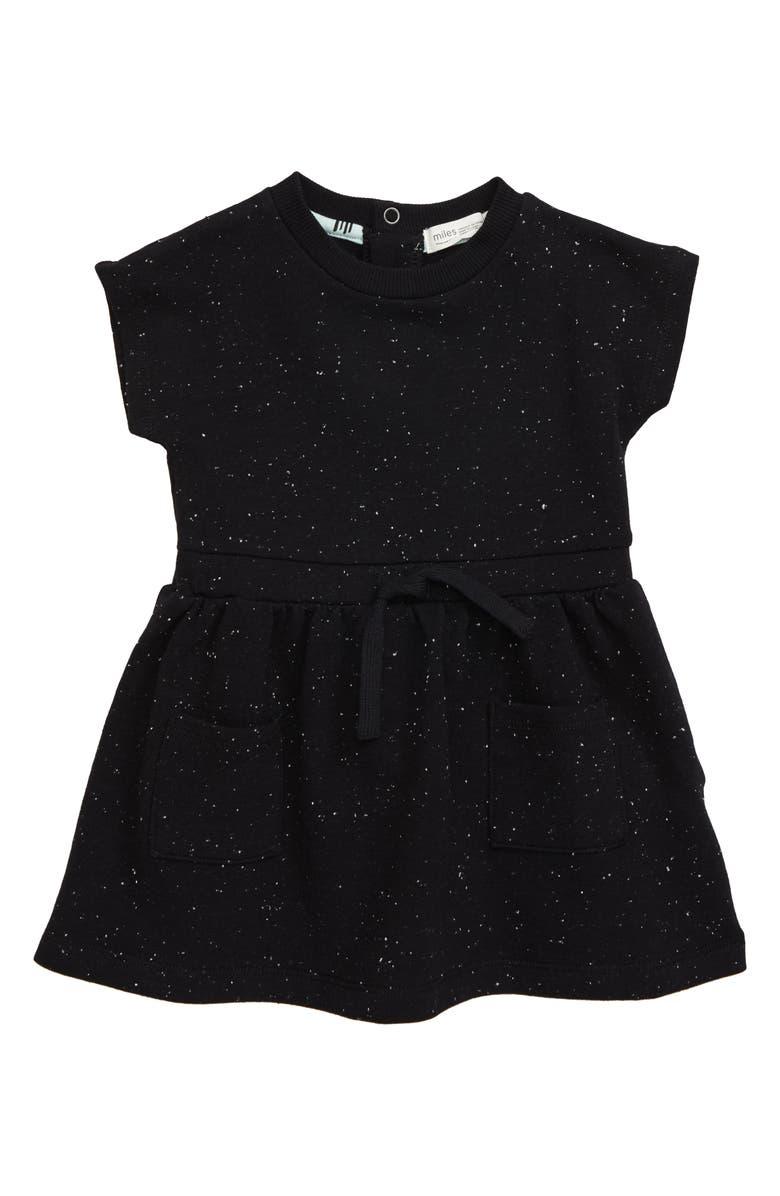 MILES baby Knit Sweatshirt Dress, Main, color, BLACK