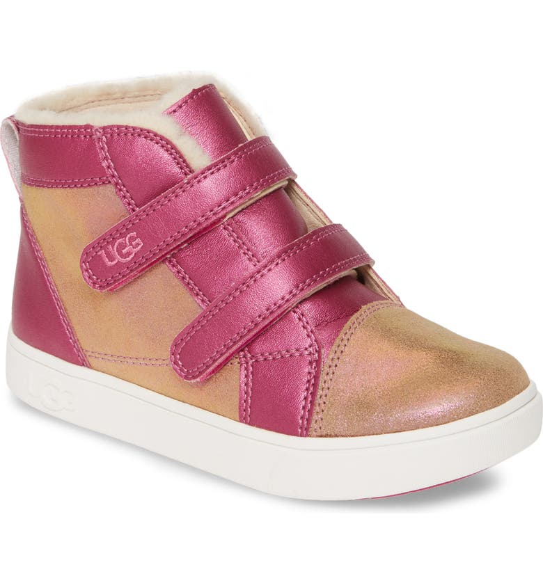 UGG<SUP>®</SUP> Rennon II Shimmer High Top Sneaker, Main, color, CHESTNUT / FUCHSIA
