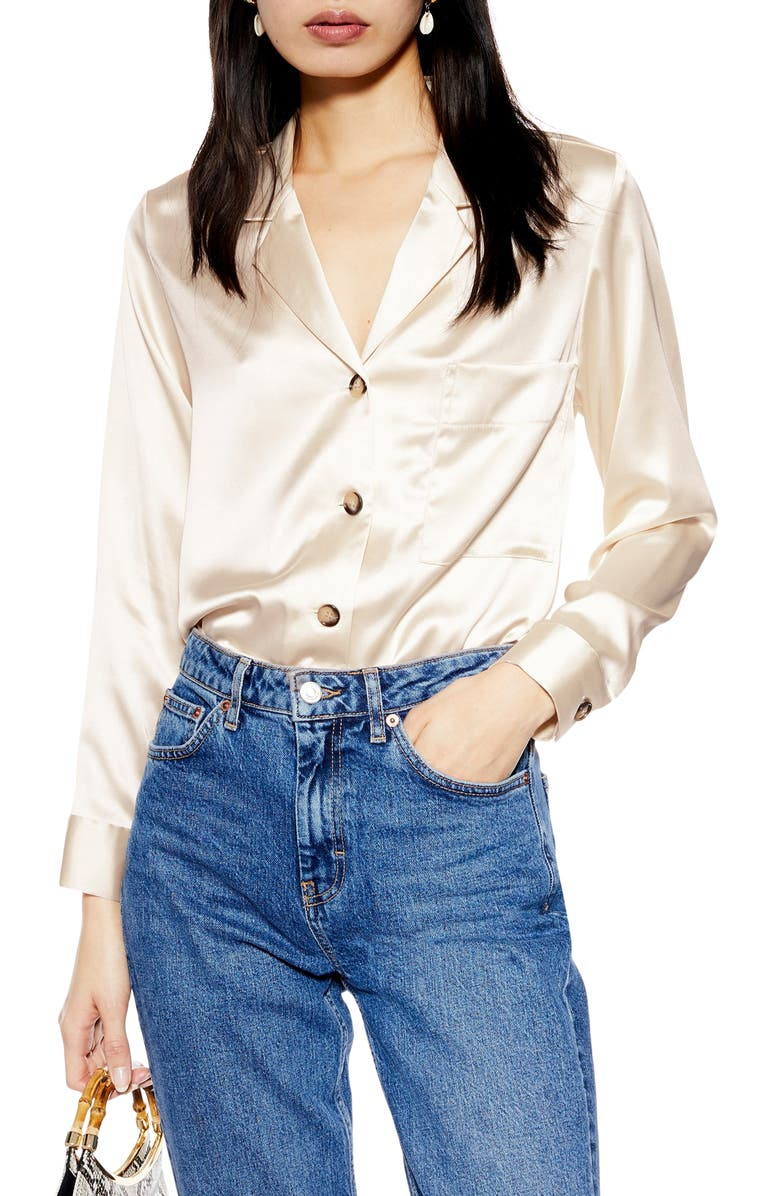 TOPSHOP Satin Button-Up Shirt, Main, color, CREAM