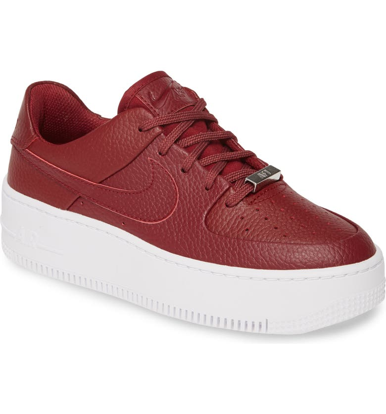 NIKE Air Force 1 Sage Low Platform Sneaker, Main, color, TEAM RED/ RED/ NOBLE RED