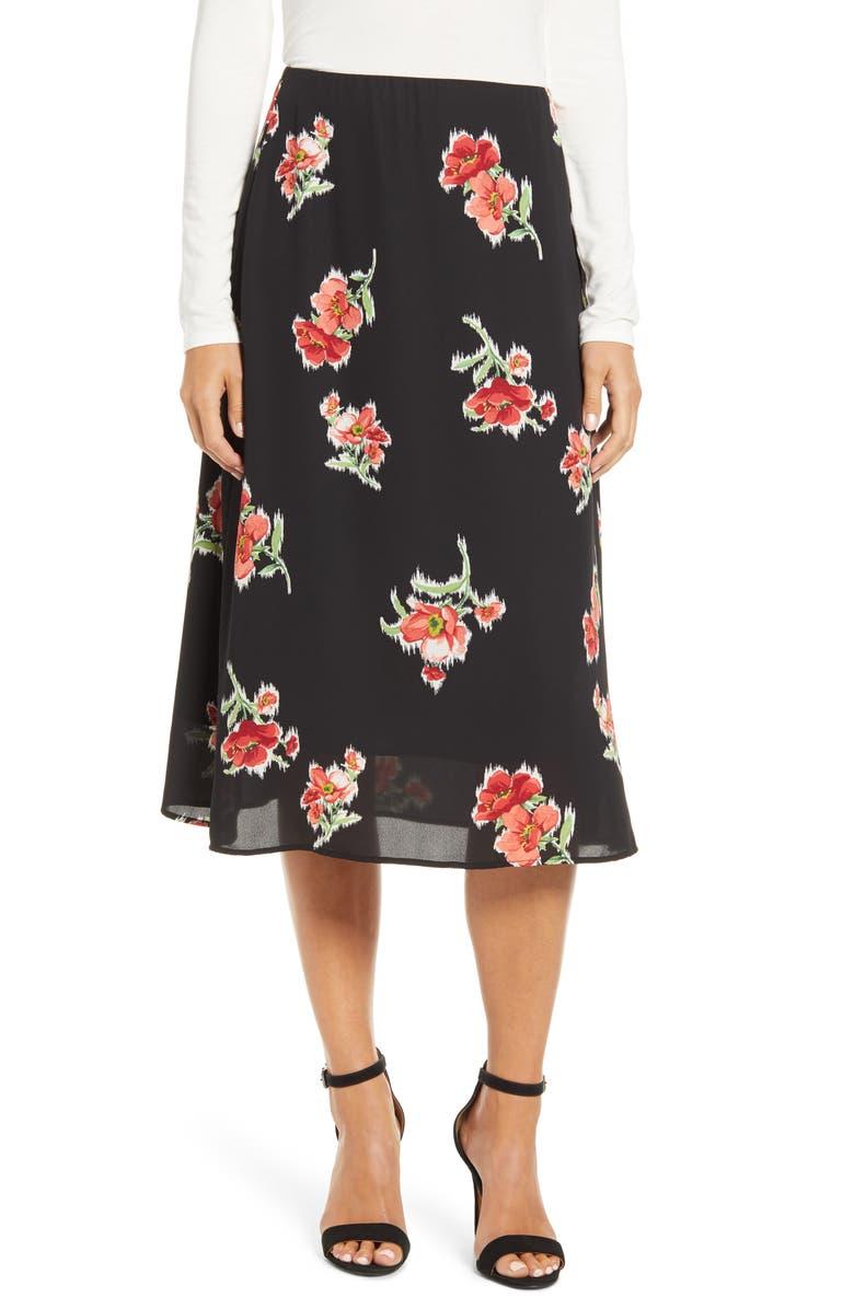 LOVEAPPELLA Loveapella A-Line Midi Skirt, Main, color, 003