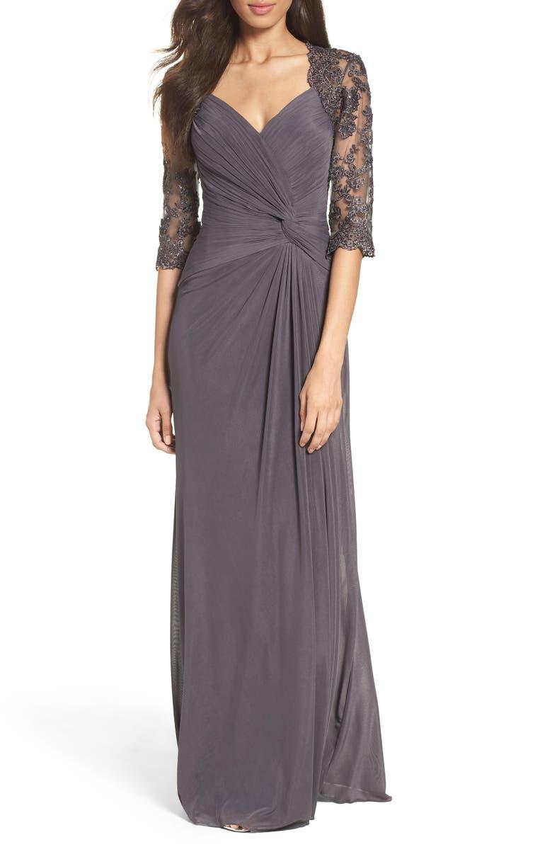 LA FEMME Lace & Net Ruched Twist Front Gown, Main, color, GUNMETAL
