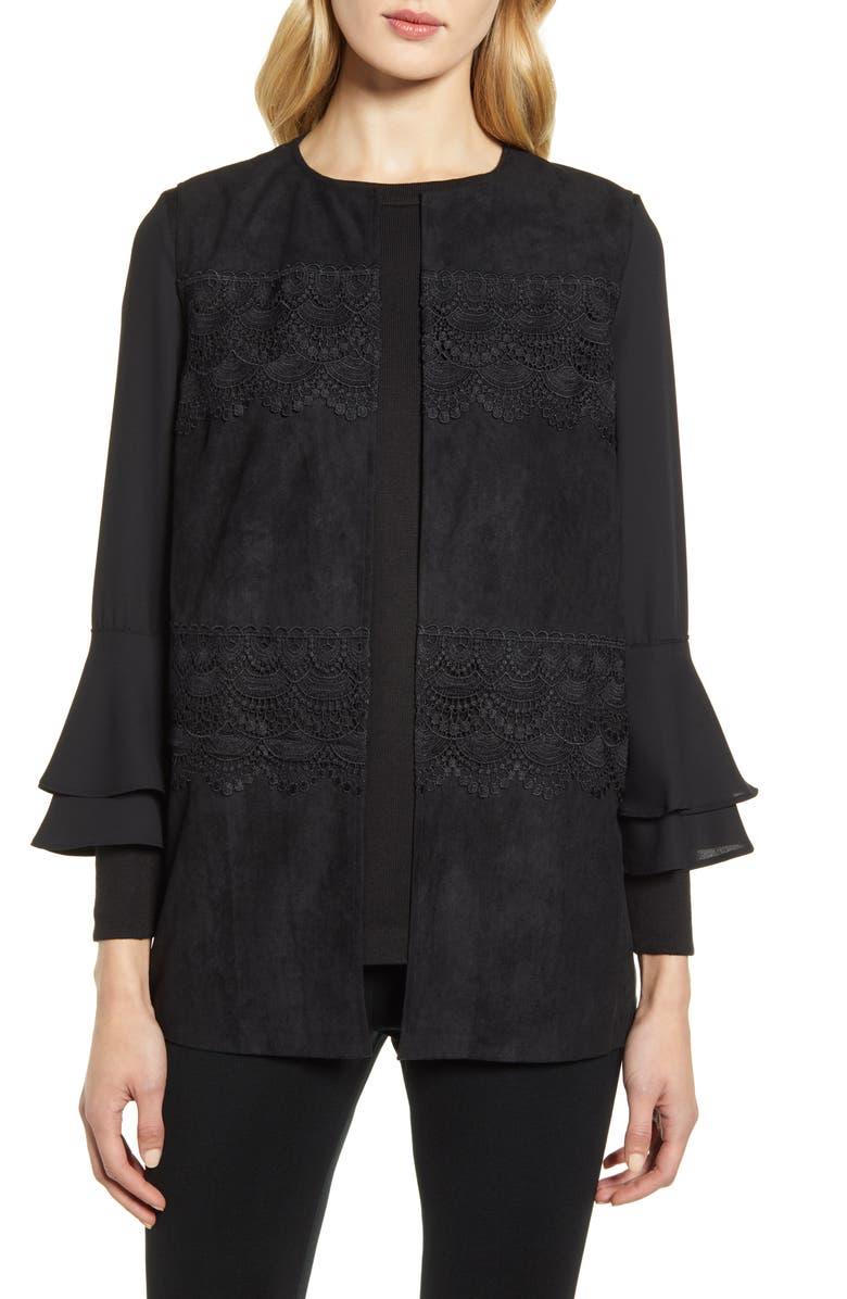 MING WANG Lace Detail Faux Suede Vest, Main, color, BLACK