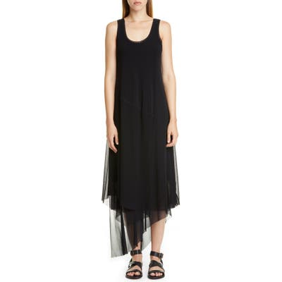 Fuzzi Asymmetrical Hem Tank Dress, Black