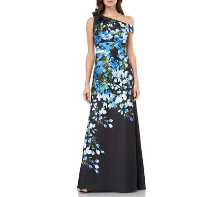 Carmen Marc Valvo Infusion Floral Print Bow Shoulder Gown, Black