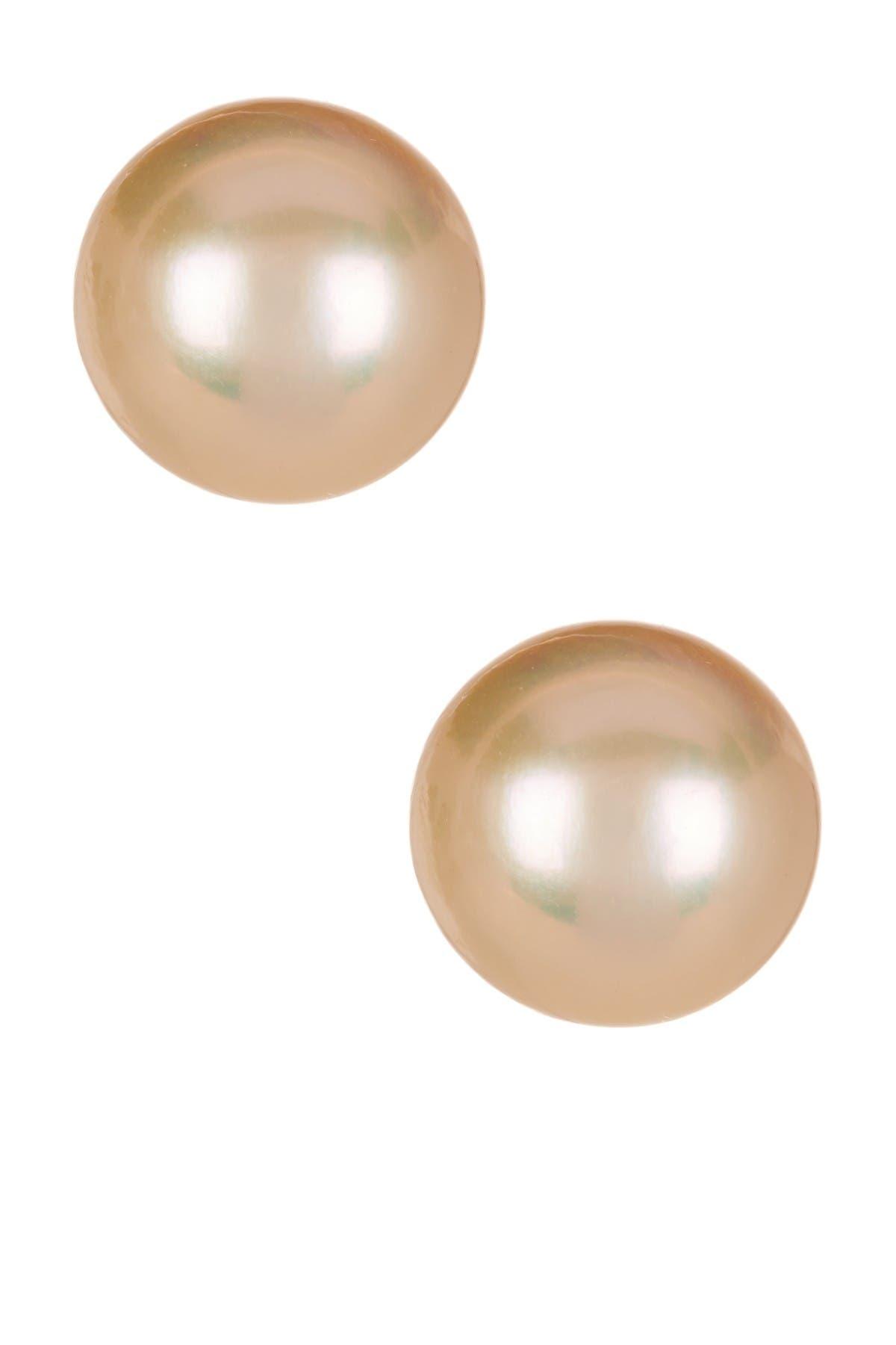 Splendid Pearls 14K Yellow Gold 10-10.5mm Pink Cultured Freshwater Pearl Stud Earrings at Nordstrom Rack