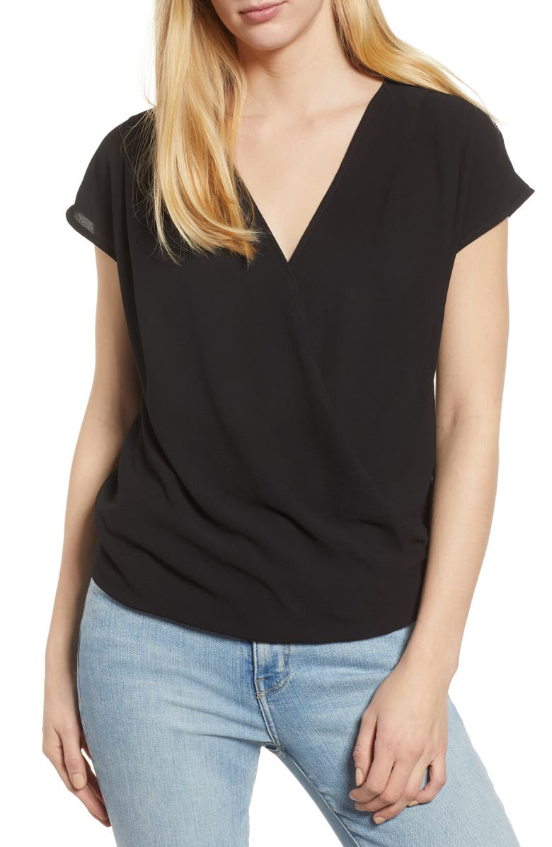 GIBSON Draped Faux Wrap Top, Main, color, BLACK