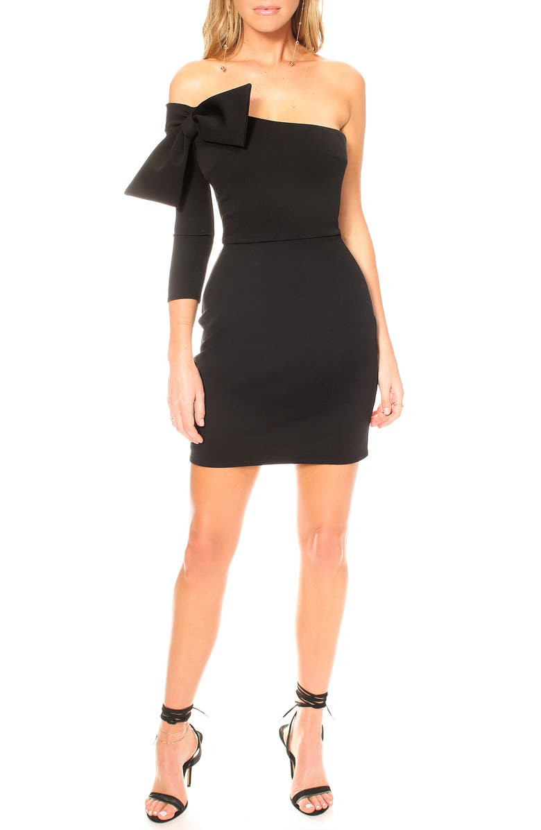 KATIE MAY Chances Are Off the Shoulder Body-Con Minidress, Main, color, BLACK