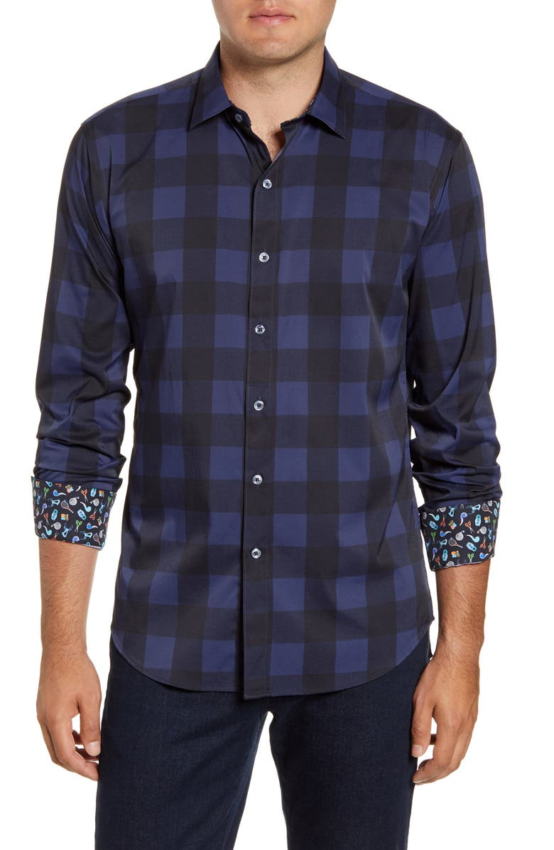 BUGATCHI Shaped Fit Check Performance Button-Up Shirt, Main, color, MIDNIGHT