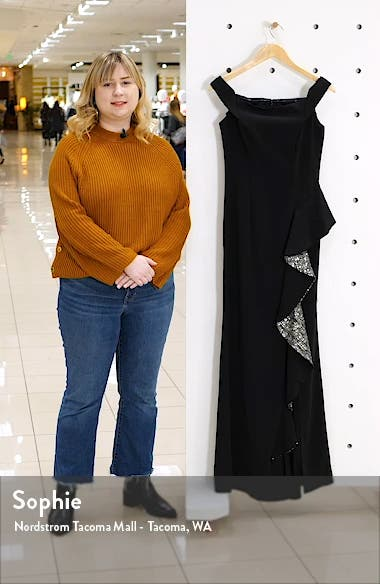 Off the Shoulder Crepe Gown, sales video thumbnail