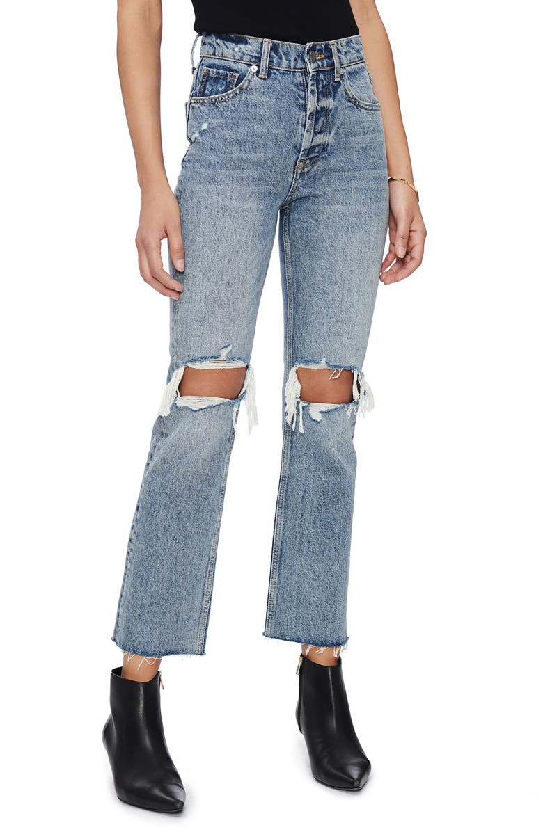 ANINE BING Lara Ripped Frayed Hem Kick Flare Jeans, Main, color, 400