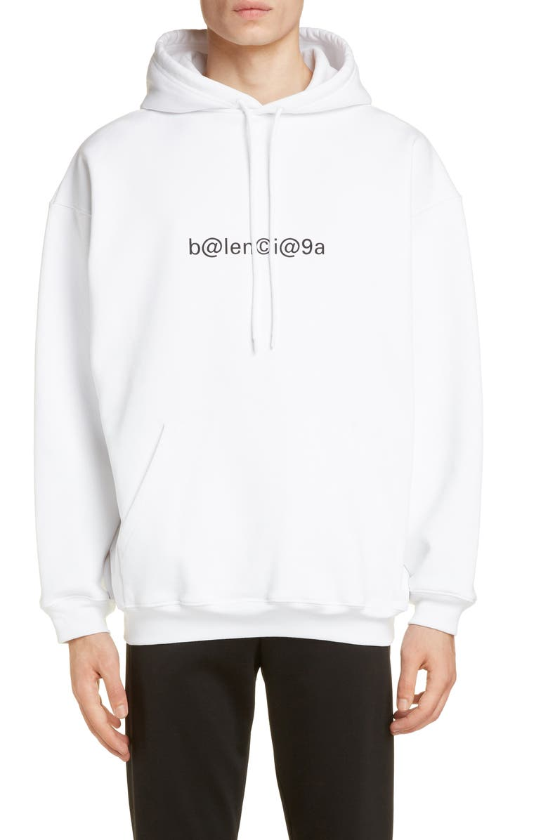 BALENCIAGA Symbolic Graphic Hoodie, Main, color, WHITE/ BLACK