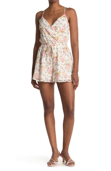 Image of ROW A Floral Surplice Neck Romper