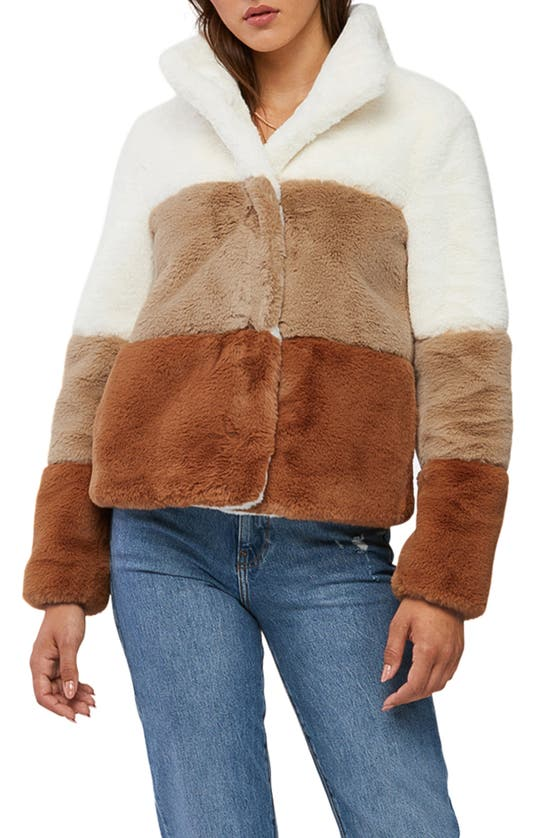 Soia & Kyo Colorblock Faux Fur Jacket In Brown Multi