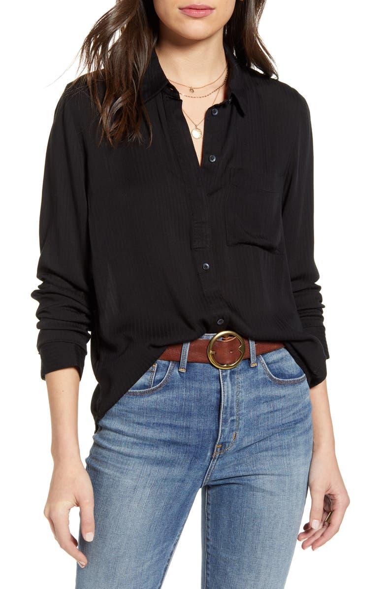 TREASURE & BOND Dobby Classic Shirt, Main, color, BLACK
