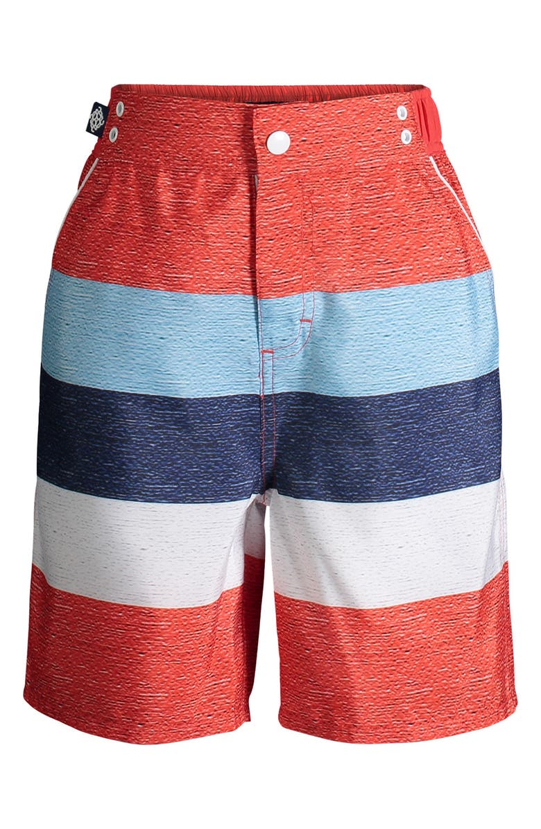 ANDY & EVAN Stripe Swim Trunks, Main, color, RED