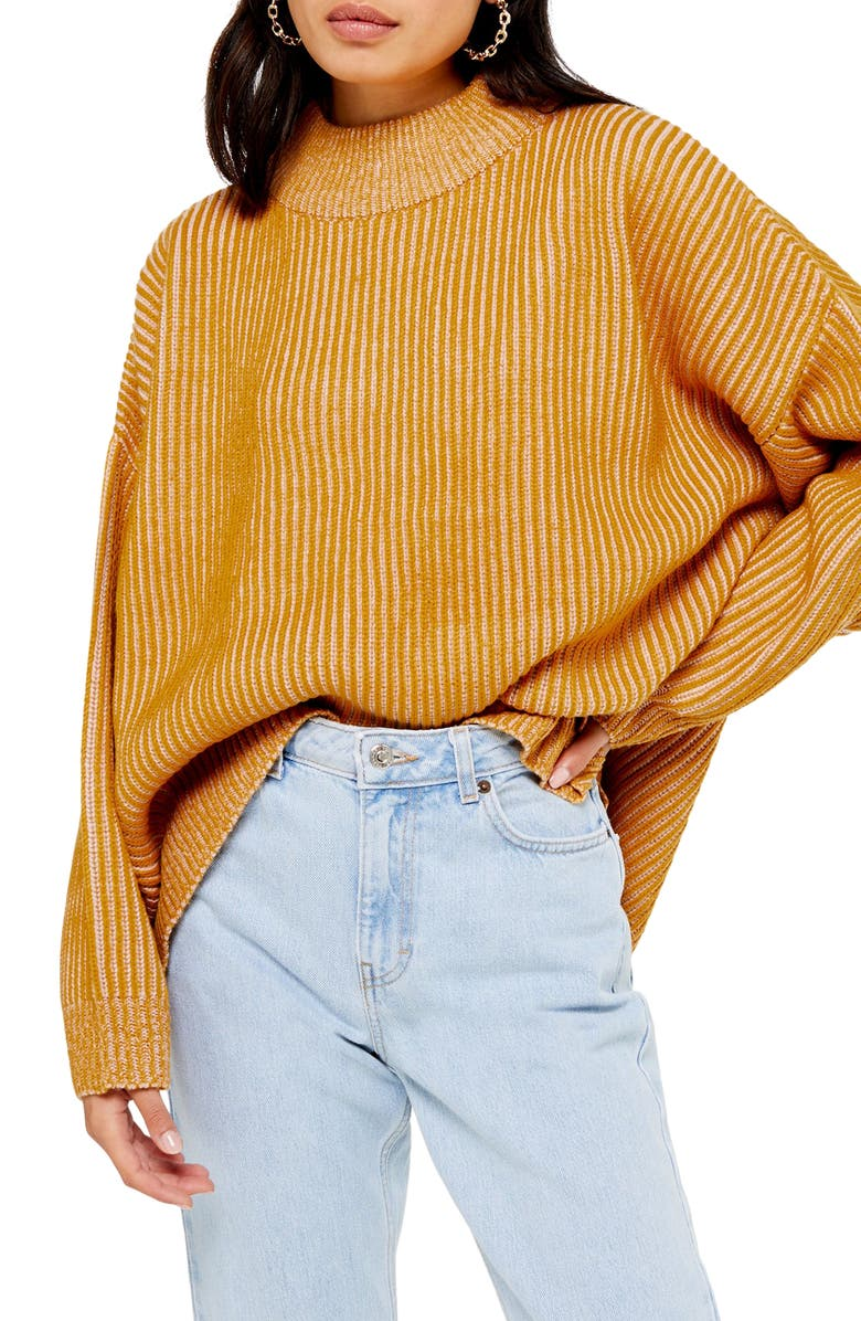 TOPSHOP Mock Neck Sweater, Main, color, MUSTARD