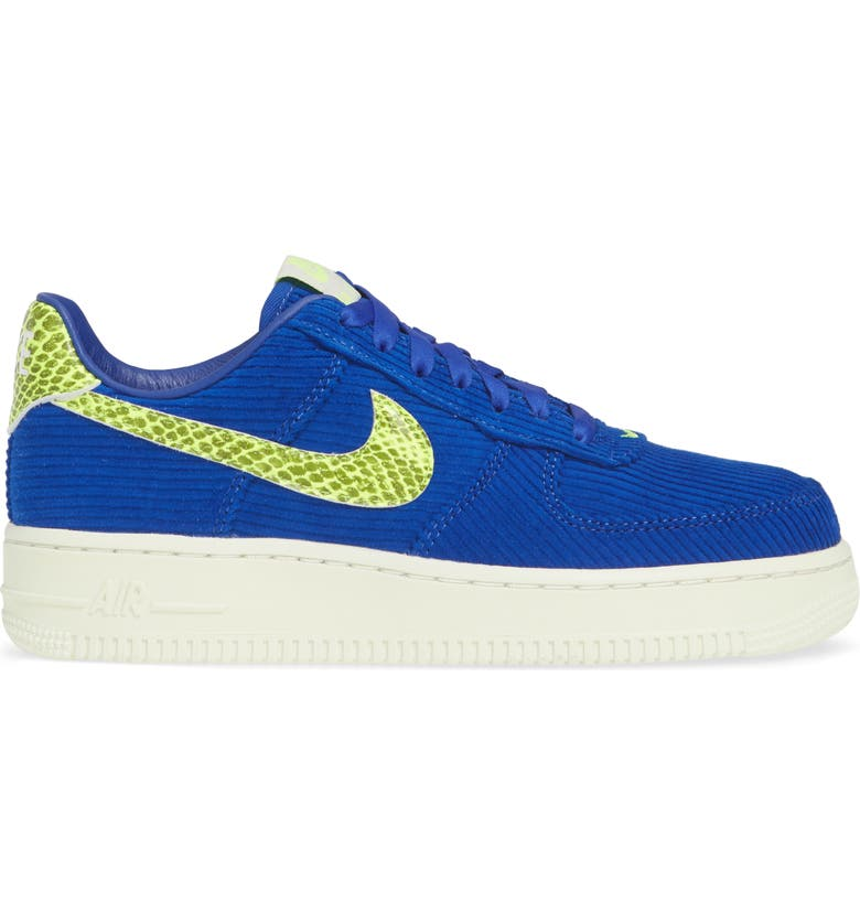 NIKE x Olivia Kim Air Force 1 '07 Corduroy Sneaker, Main, color, HYPER BLUE/ VOLT SAIL