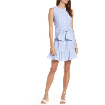 1901 Bow Fit & Flare Dress, Blue
