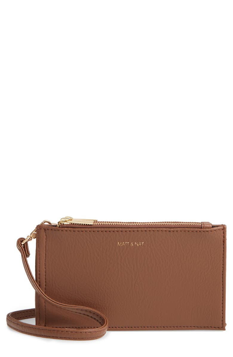 MATT & NAT Tipei Faux Leather Phone Crossbody Bag, Main, color, BRICK