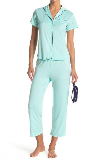 Image of PJ Couture Notch Capri Floral Pajama Set - 2-Piece Set