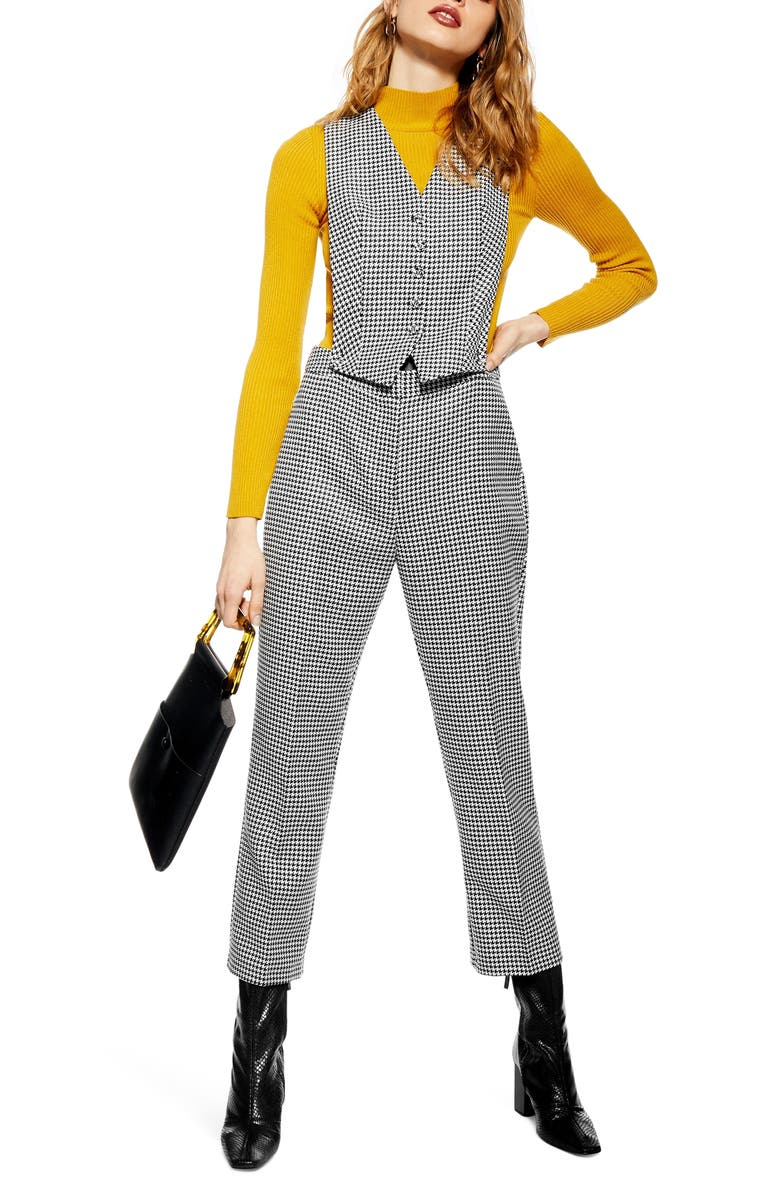 TOPSHOP Houndstooth 3-in-1 Jumpsuit, Main, color, 002