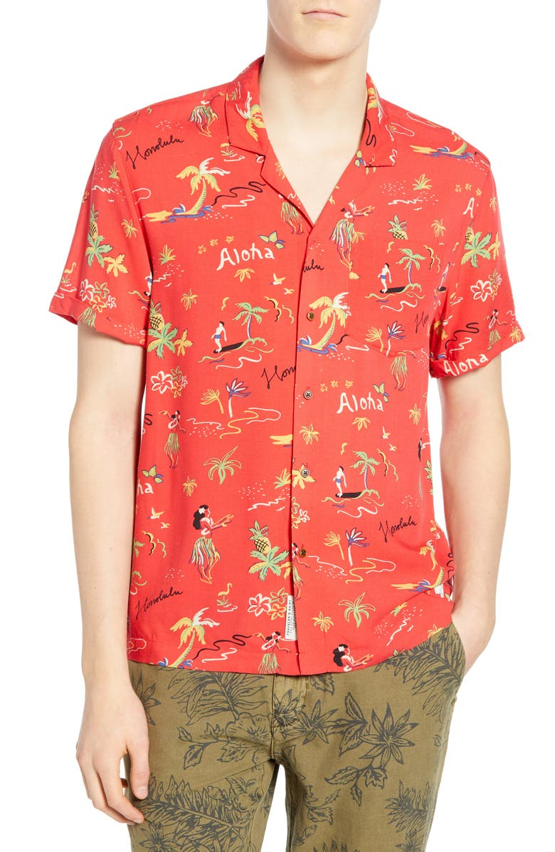 SCOTCH & SODA Hawaiian Fit Aloha Print Camp Shirt, Main, color, 620