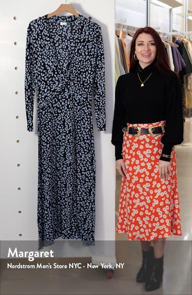 Anja Leopard Print Silk Blend Long Sleeve Midi Dress, sales video thumbnail