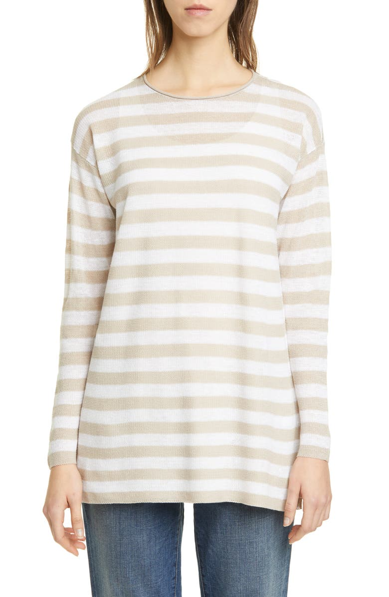 EILEEN FISHER Stripe Organic Linen & Cotton Tunic, Main, color, NATURAL/ WHITE
